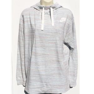 Nike Wide Ribbon Drawstring Hoodie Sweatshirt L